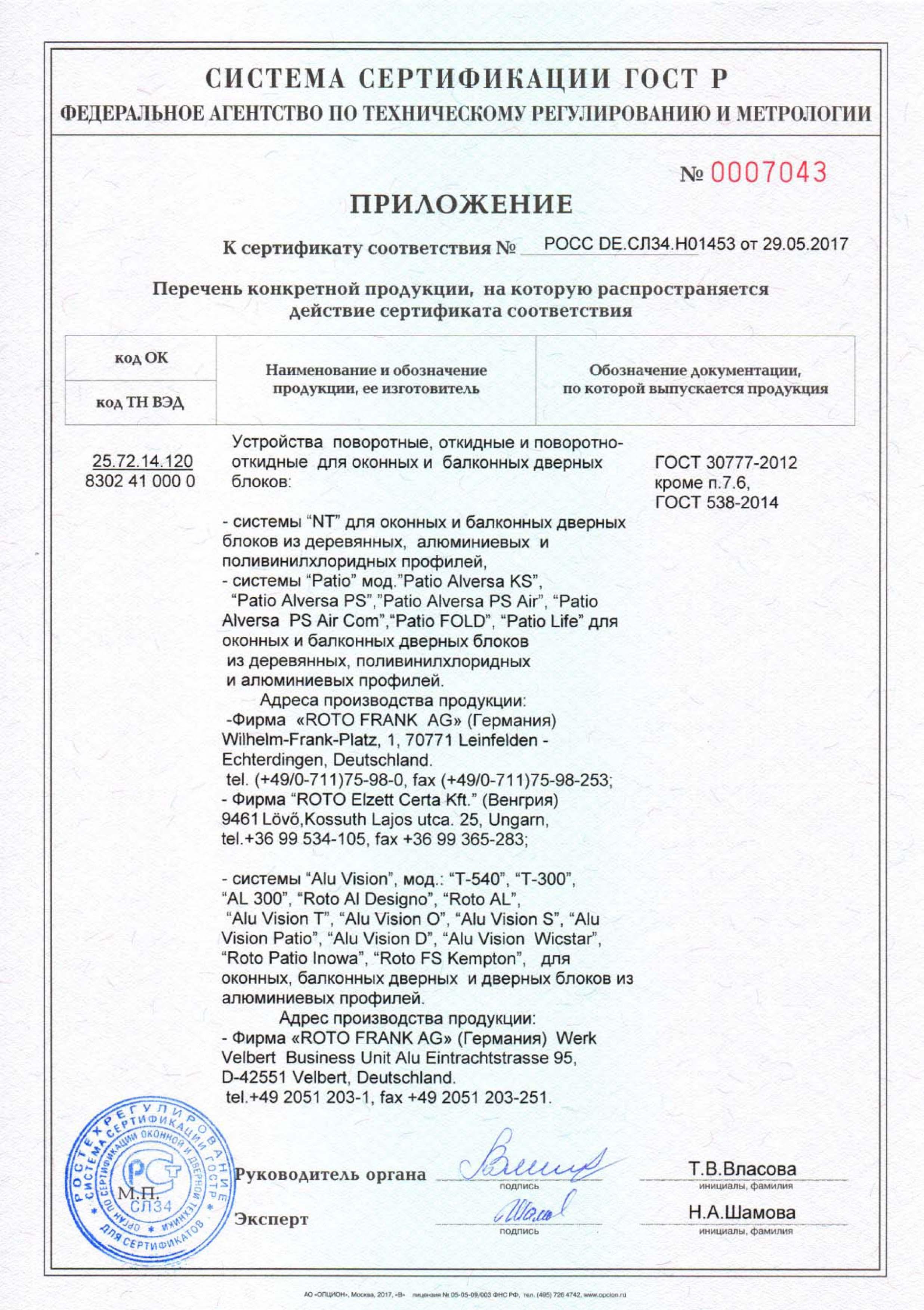 Сертификат Roto NT,Patio,ALu до 2020-2